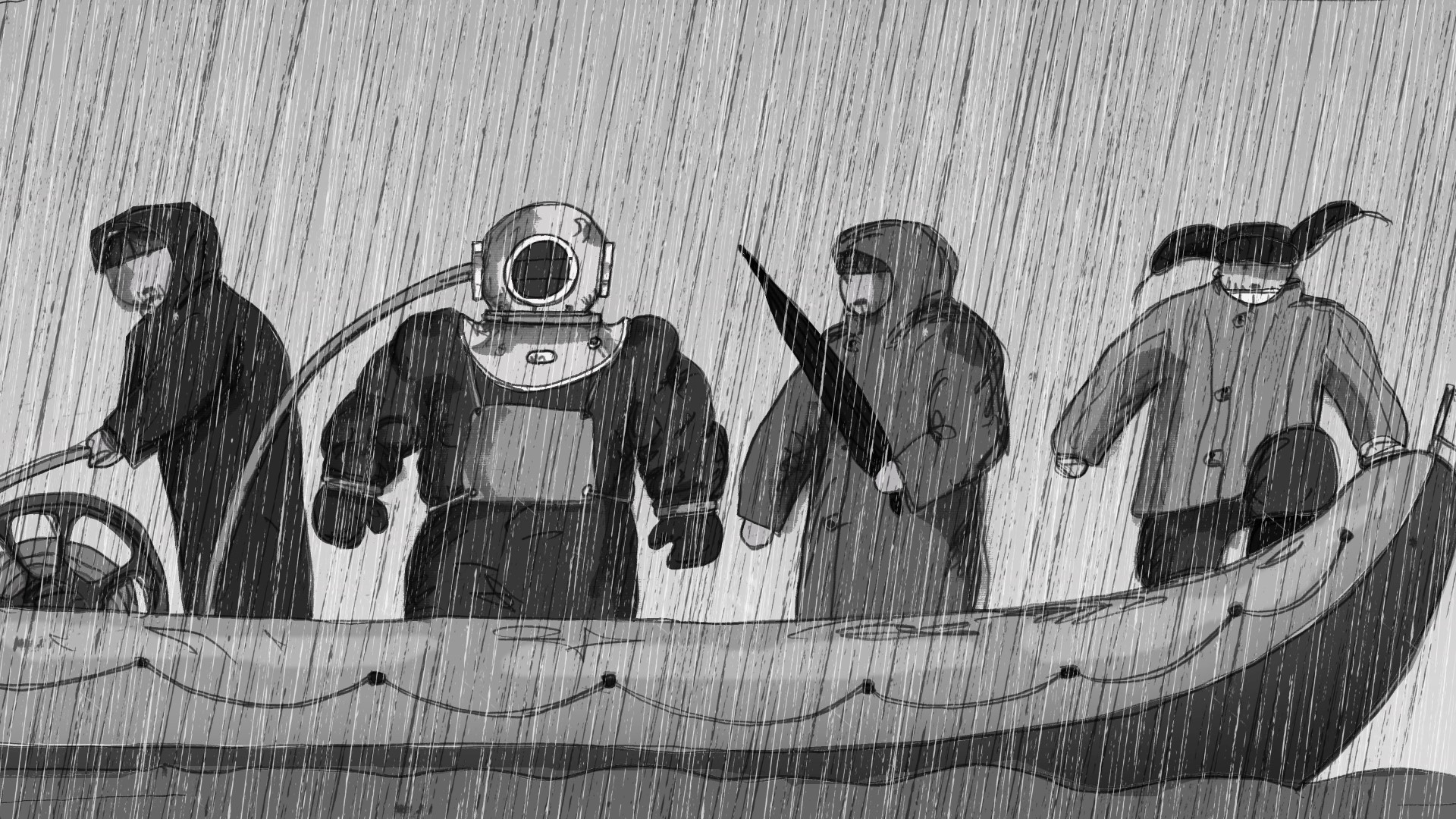 divers in the rain spoutnik