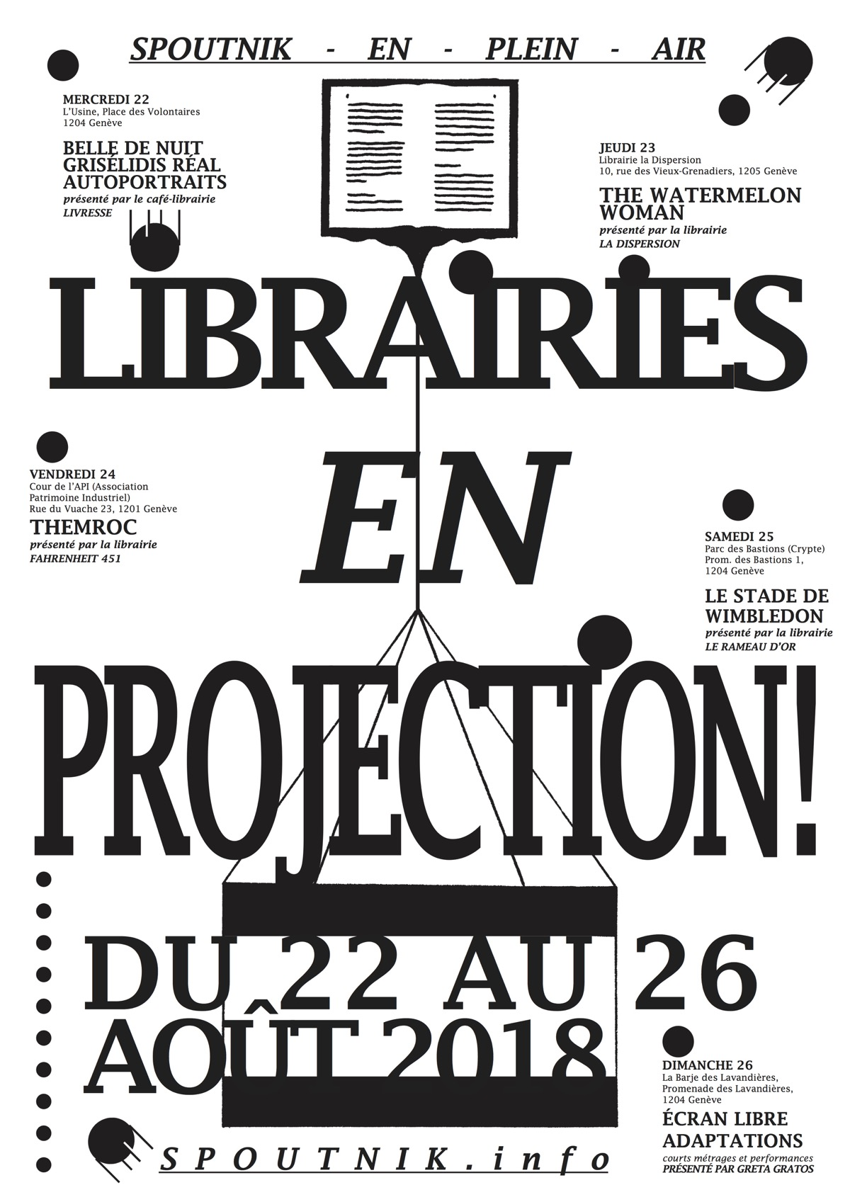 librairie en projection spoutnik en plein air