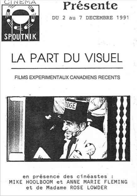 La part du visuel - films expérimentaux canadiens récents