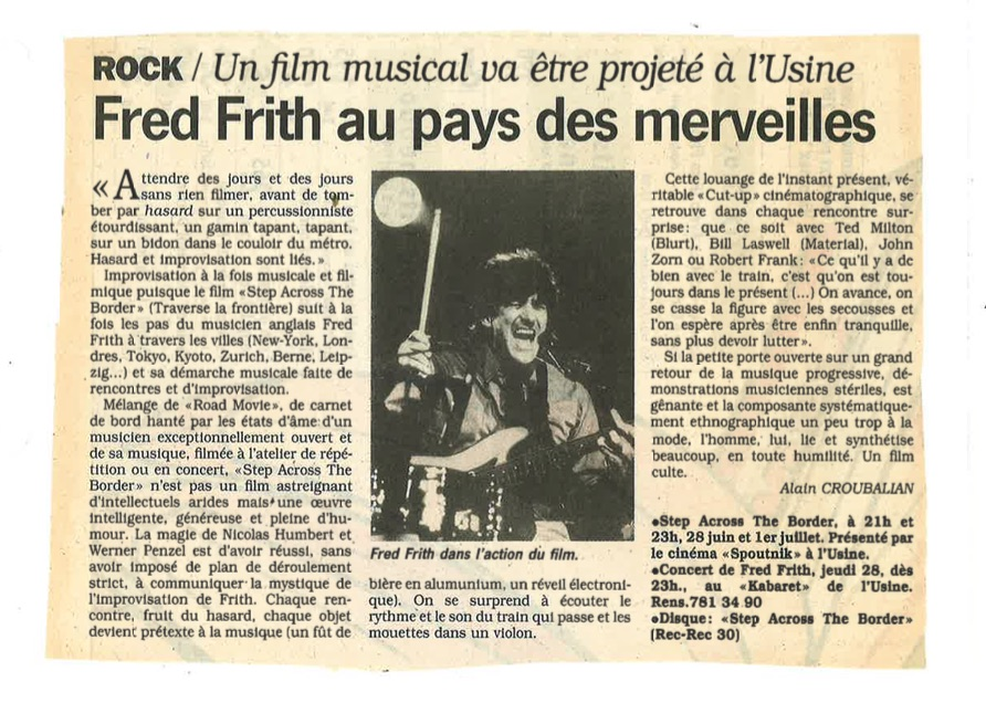 Fred Frith step across the border Spoutnik Usine 1990